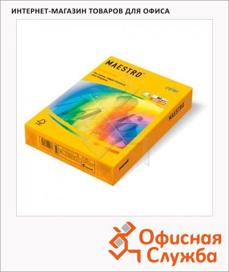 Цветная бумага для принтера Maestro Color оранжевая неон, А4, 500 листов, 80г/м2, NEOOR