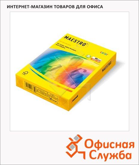 Цветная бумага для принтера Maestro Color умеренно-интенсив лимонно-желтый, А4, 500 листов, 80г/м2, ZG34