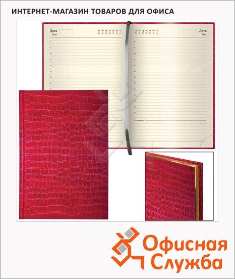 Ежедневник недатированный Brauberg Comodo красный, А5, 160 листов, под матовую крокодиловую кожу