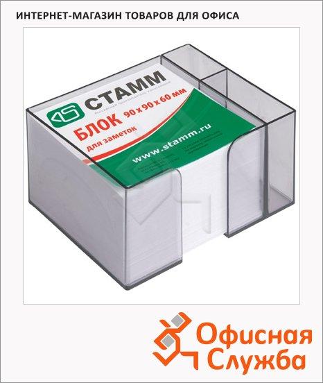 Блок для записей непроклеенный в подставке Стамм белый в тонированном боксе, 90х90мм, с отделом для ручек