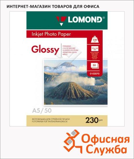 Бумага для принтера Lomond A5, 50 листов, 230 г/м2, глянцевая, для струйной печати, 102070