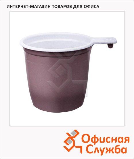 Чашка одноразовая 180мл, бело-коричневая, 50шт/уп