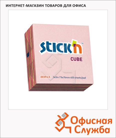 Блок для записей с клейким краем Stick'n 3 цвета, неон и пастельный, 76х76мм, 400 листов