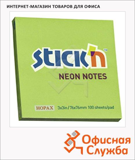 Блок для записей с клейким краем Stick'n зеленый, неон, 76х76мм, 100 листов