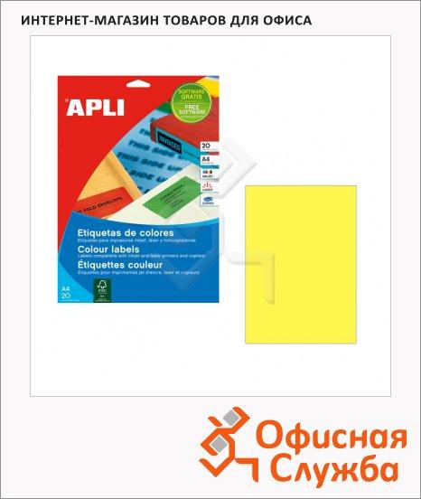 Этикетки цветные Apli 1599, 210х297мм, 20шт, желтые