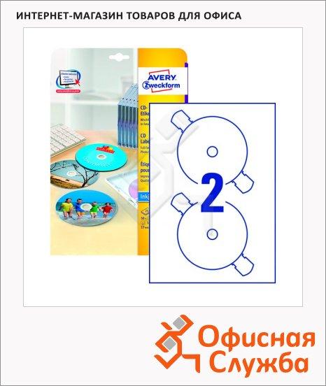 Этикетки для CD/DVD Avery Zweckform C9660-25, белые, d=117мм, 2шт на листе А4, 25 листов, 50шт, для струйной печати