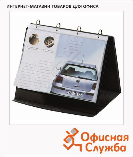 Папка-панорама на 4-х кольцах A4 Maxi черная, 30мм