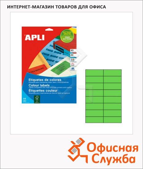 Этикетки цветные Apli 1598, 105х37мм, 320шт, зеленые