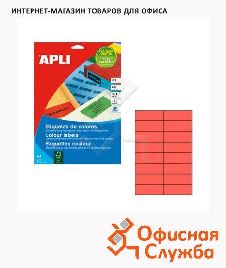 Этикетки цветные Apli 1597, 105х37мм, 320шт, красные