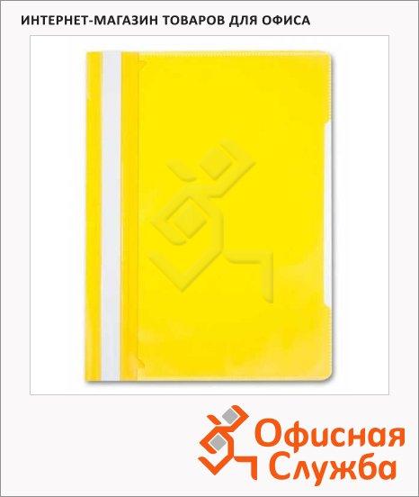 Скоросшиватель пластиковый Бюрократ с карманом на лицевой стороне желтый, А4, PS-K20YEL
