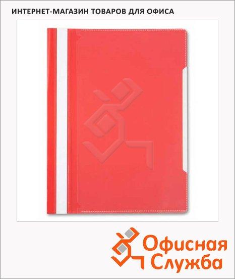 Скоросшиватель пластиковый Бюрократ с карманом на лицевой стороне красный, А4, PS-K20RED