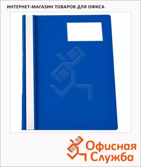 фото: Скоросшиватель пластиковый Бюрократ с карманом для визитки синий А4, PS-V20BLU