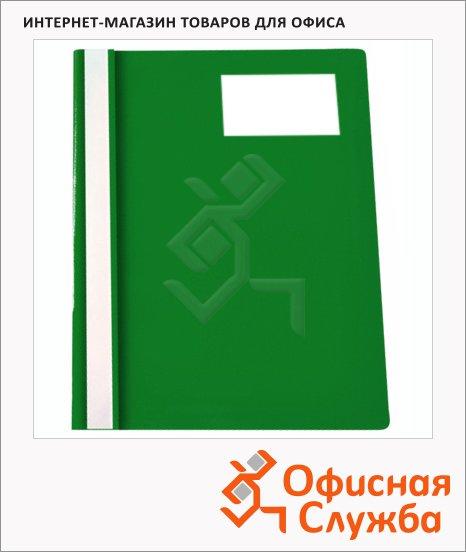 фото: Скоросшиватель пластиковый Бюрократ с карманом для визитки зеленый А4, PS-V20GRN