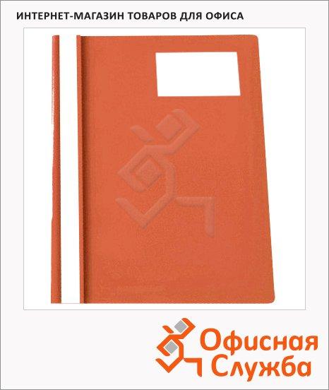 фото: Скоросшиватель пластиковый Бюрократ с карманом для визитки красный А4, PS-V20RED