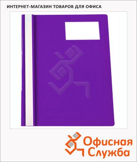 фото: Скоросшиватель пластиковый Бюрократ с карманом для визитки фиолетовый А4, PS-V20VIO