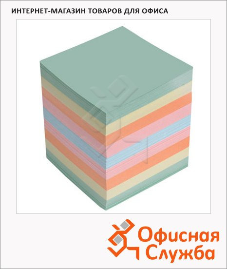фото: Блок для записей непроклеенный цветной 90х90х90мм