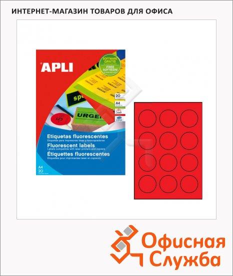Этикетки цветные флюорисцентные Apli 2868, d=60мм, 240шт, красные