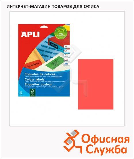 фото: Этикетки цветные Apli 11840 210х297мм, 100шт, красные