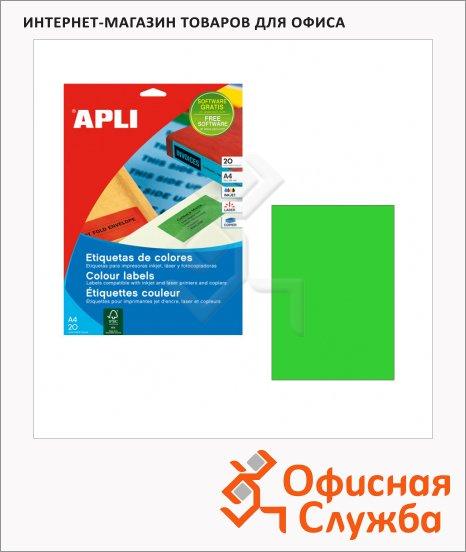 Этикетки цветные Apli 1602, 210х297мм, 20шт, зеленые