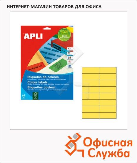 фото: Этикетки цветные Apli 1595 105х37мм, 320шт, желтые