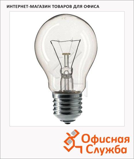 фото: Лампа накаливания A55 CL E27, 2700К, теплый белый свет, груша