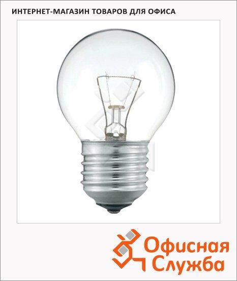 фото: Лампа накаливания Philips P45 CL 40Вт E27, 2700К, теплый белый свет, шар