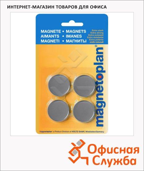 Магниты Magnetoplan Standart d=30х8мм, 4шт/уп, серые