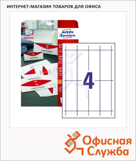 Настольные карточки Avery Zweckform L4794-10, белые с микроперфорацией, 120x45мм, 4шт на листе, 10 листов, 40шт, для всех видов печати