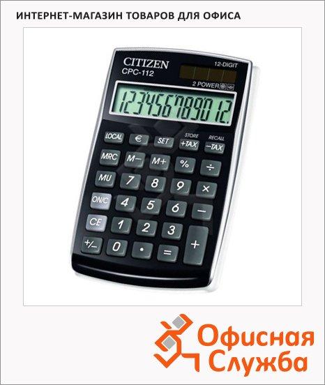 Калькулятор карманный Citizen CPC-112 черный, 12 разрядов