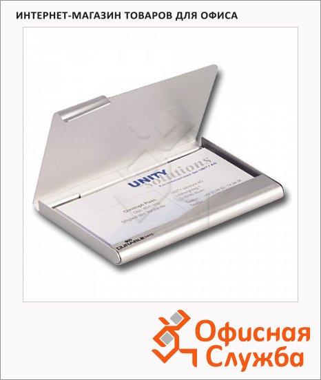 Визитница Durable Business Card Box на 20 визиток, серебристая, 90х55мм, металл, 2415-23
