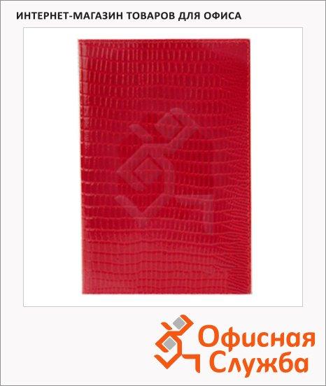Обложка для паспорта Befler Ящерица красная, натуральная кожа