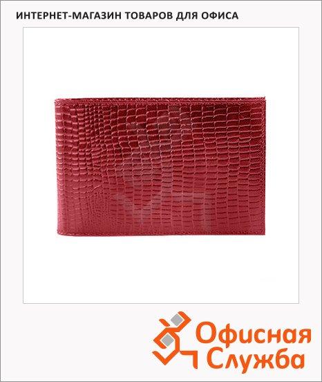 Визитница Askent Ящерица на 40 визиток, красная, 110х70мм, натуральная кожа