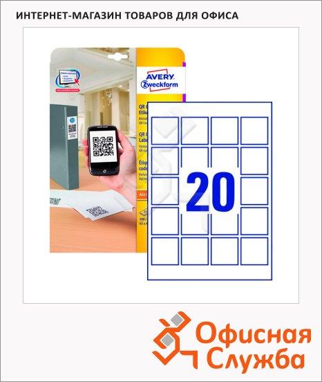 Этикетки для матричного кодирования Avery Zweckform L7121-25, белые, 45х45мм, 20шт на листе А4, 25 листов, 500шт, для струйной/ цветной лазерной печати