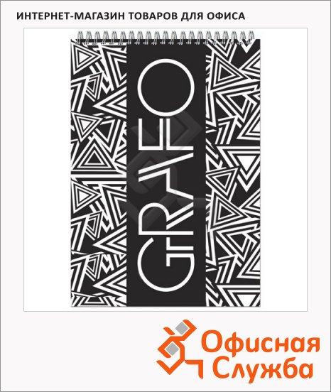 Блокнот Графо, А5, 50 листов, в клетку, на спирали, картон