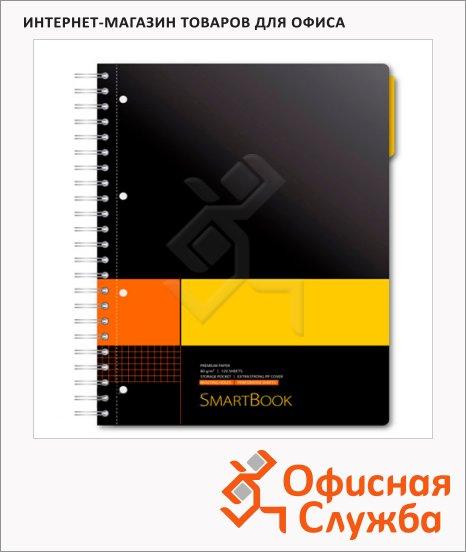 Тетрадь Smartbook желто-оранжевая, А5, 120 листов, на спирали, пластик, в клетку