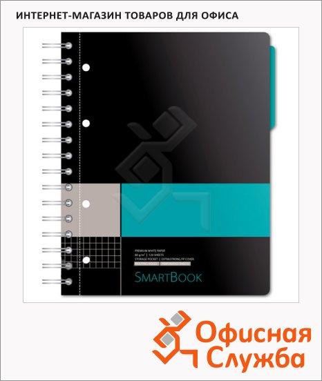 Тетрадь Smartbook серо-бирюзовая, А5, 120 листов, на спирали, пластик, в клетку