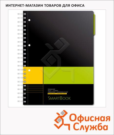 Тетрадь Smartbook желто-зеленая, А4, 120 листов, в линейку, на спирали, пластик