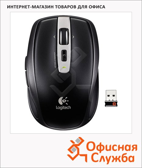 фото: Мышь беспроводная оптическая USB Anywhere Mouse MX New 1000dpi, черная, 910-002899