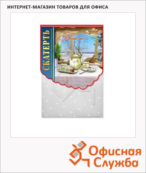 Скатерть из полиэстера Мультидом 150х182см, белый снег, с тефлоновым покрытием