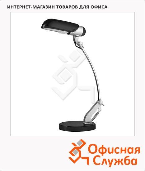 фото: Светильник настольный Camelion KD-034 серебристо-черный на подставке, люминесцентный