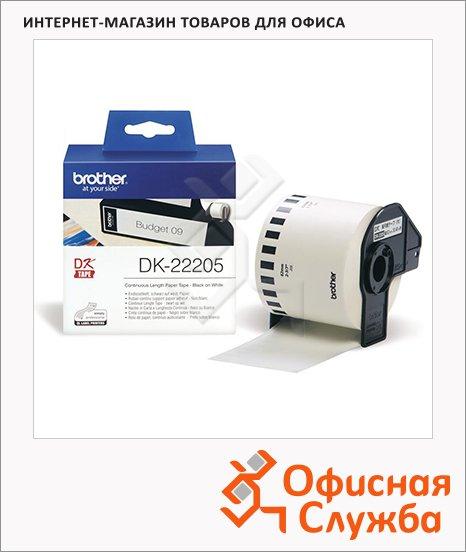 Картридж для принтера этикеток Brother DK 22205, 62мм х 30.5м, белый с черными буквами, бумага