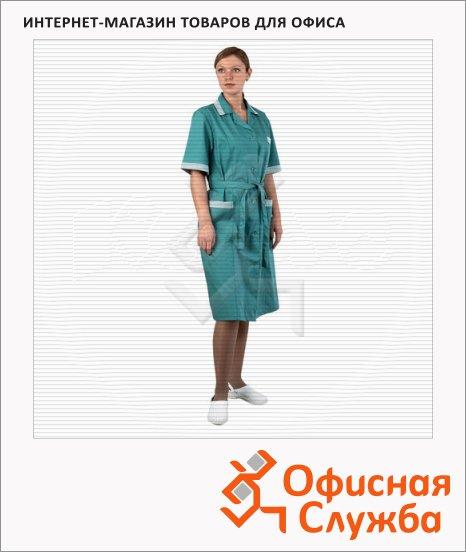 фото: Халат рабочий женский Вилора (р.48-50) 158-164 бирюзовый, короткий рукав