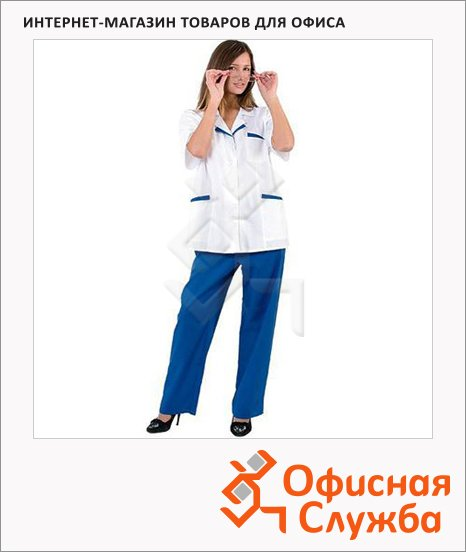 фото: Костюм медицинский женский Лиза (р.60-62) 158-164 бело-синий