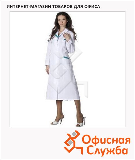 Халат медицинский Лиза (р.44-46) 170-176, бело-бирюзовый