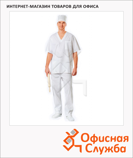 Костюм рабочий пекаря (р.60-62) р.182-188, белый, короткий рукав