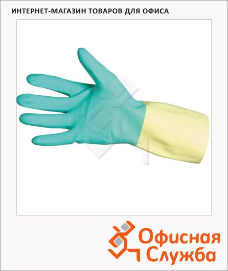 фото: Перчатки защитные Ansell Бай Колор р.9 L латекс и неопрен, зеленые с желтым