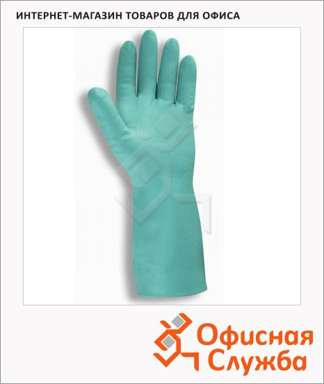 фото: Перчатки защитные Ansell Солвекс р.7 нитрил, зеленые, 37-675