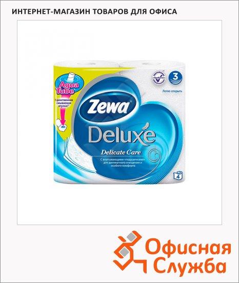 Туалетная бумага Zewa Deluxe без аромата, 3 слоя, 4 рулона, 150 листов, 21м, белая