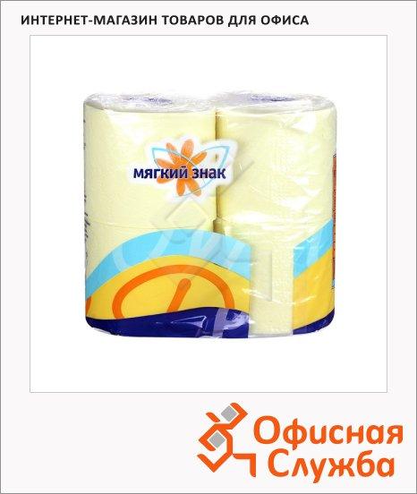 Туалетная бумага Мягкий Знак Deluxe без аромата, 2 слоя, 4 рулона, 175 листов, 21.88м, желтая