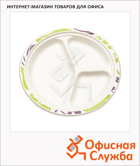 Тарелка одноразовая Chinet 3 секции d=26см, 50шт/уп, белая